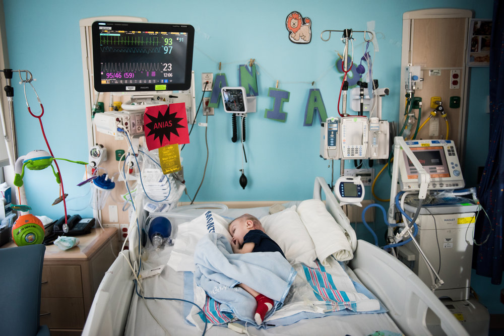 Anias McDonald sleeps in his bed at Montefiore Children's Hospital in The Bronx, New York, N.Y. on December 13, 2016.