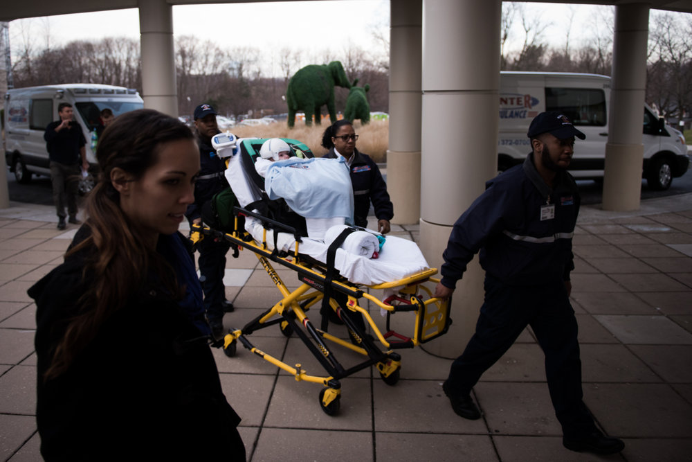 Jadon McDonald is unloaded from an ambulance at Blythedale Children's Hospital in Valhalla, New York, N.Y. on December 14, 2016.