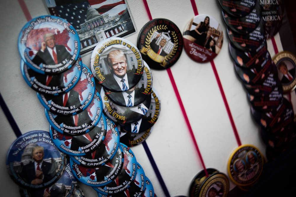 A vendor sells buttons after Donald Trump's inauguration as the 45th President of the United States in Washington, D.C., on January 20, 2017. Credit: Mark Kauzlarich for CNN