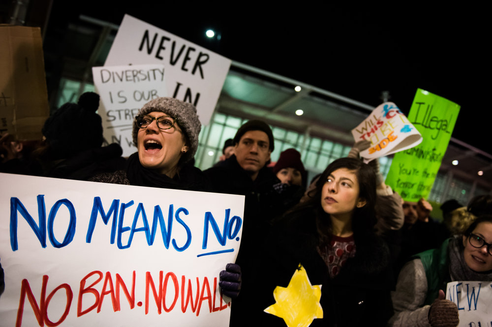 Protestors chant at John F. Kennedy International Airport in New York, NY on Saturday, January 28, 2017. Credit: Mark Kauzlarich for CNN