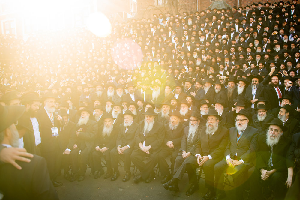 Thousands of Chabad-Lubavitch rabbis sing the prayer Ani Ma'amin as they are lead by emissaries from the Chabad community in Pittsburg, PA, just over a week after the shooting deaths of members of the Jewish community at a synagogue in Pittsburgh.