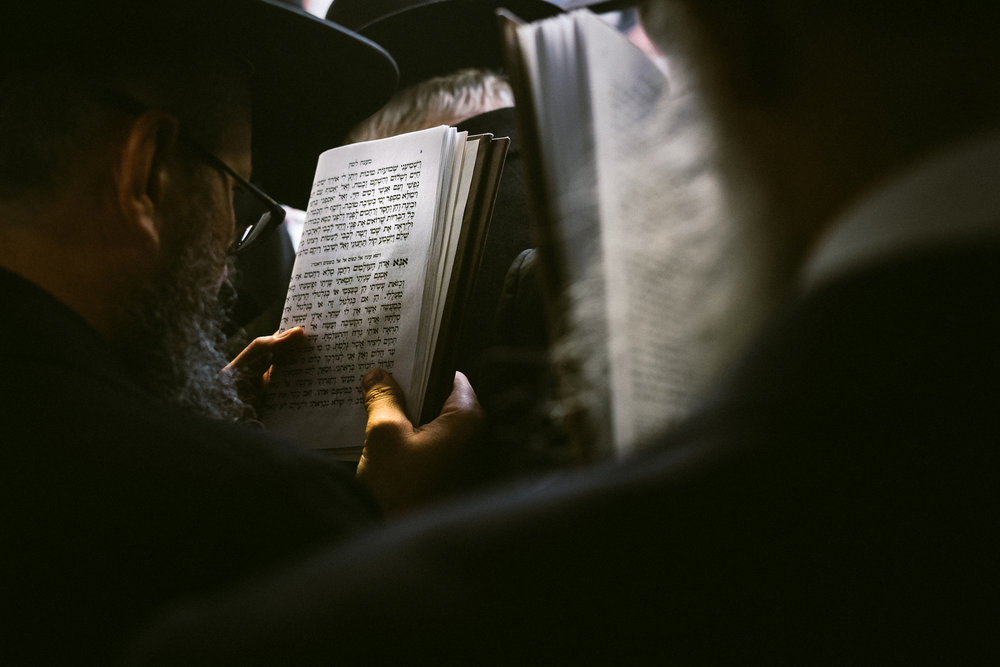Chabad-Lubavitch rabbis read from their prayer books at the gravesite of the Lubavitcher Rebbe, Rabbi Menachem M. Schneerson, in the Queens borough of New York, NY.