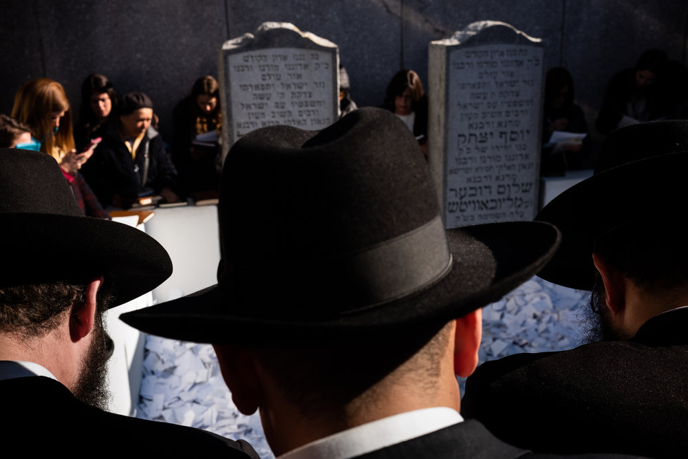 Chabad-Lubavitch rabbis and others gather to pray at the Ohel, the gravesite of the Lubavitcher Rebbe Menachem M. Schneerson in Queens, NY.