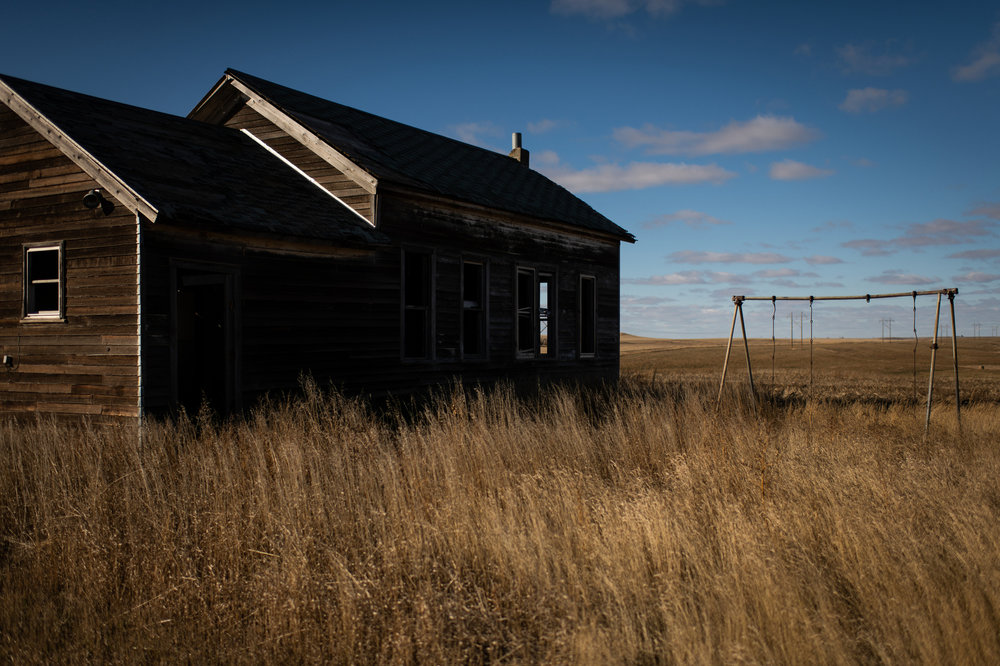 An abandoned schoolhouse north of Hettinger, ND.