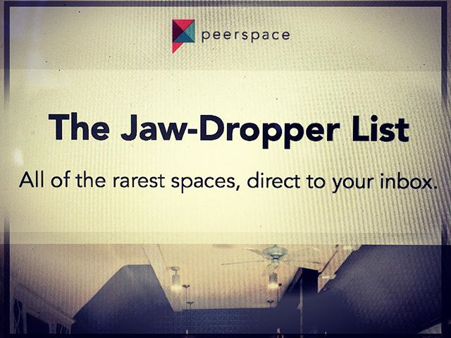 "When your client forwards you an email sharing that you made the @peerspace ""JAW DROPPER LIST"" Of studios/event spaces to rent in the San Francisco Bay Area, you pour yourself a glass of champagne, damnit! Happy Mid-Week from your local Jaw Dropper 😉! Thank you #Peerspace!"