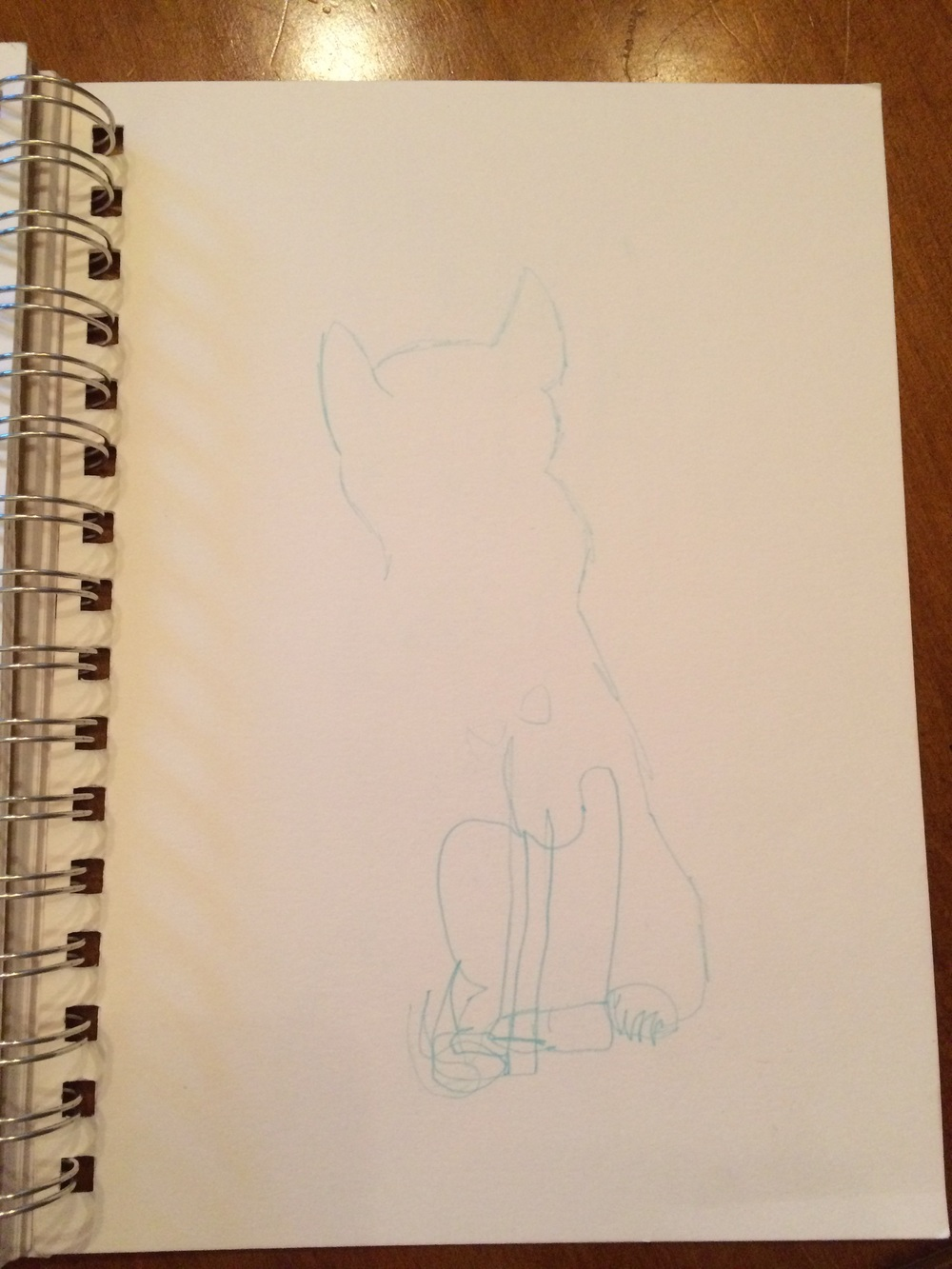 Claire's blind contour of the Bastet statue in 45 seconds.