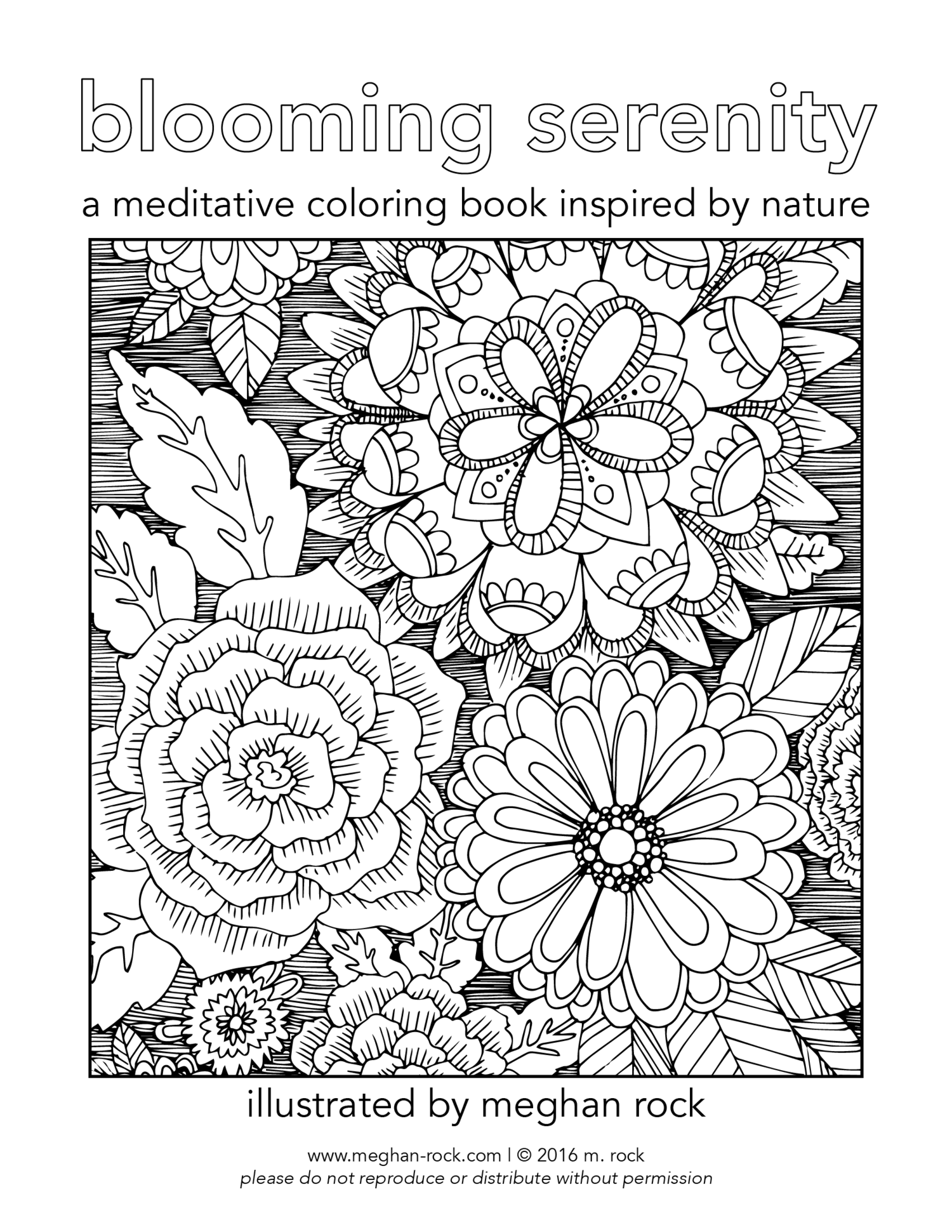 Blooming Serenity Coloring Book A4 Size The Rock Menagerie Of Art