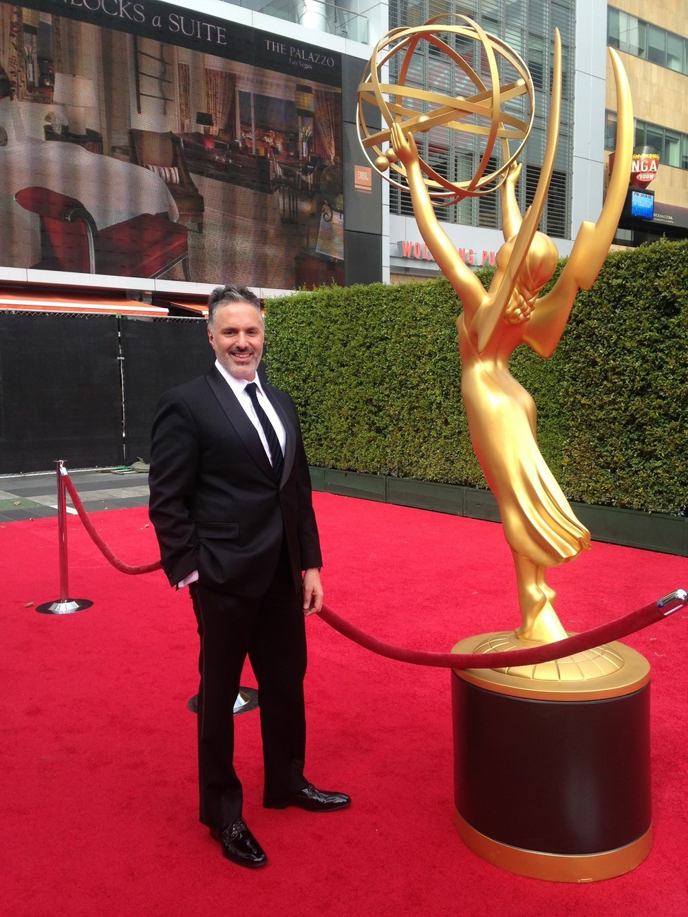 Congratulations to Nick, an Emmy® nominee, proudly wearing our tie on the red carpet!  (Image: © Nick DeMayo)