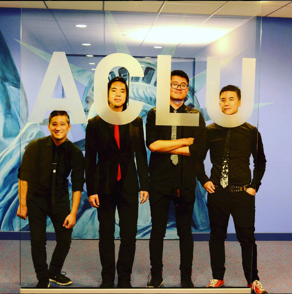 Simon (right) wears a custom Rachel Park Designs tie before performing with his band, The Slants, at the ACLU. (Image: Instagram/The Slants)