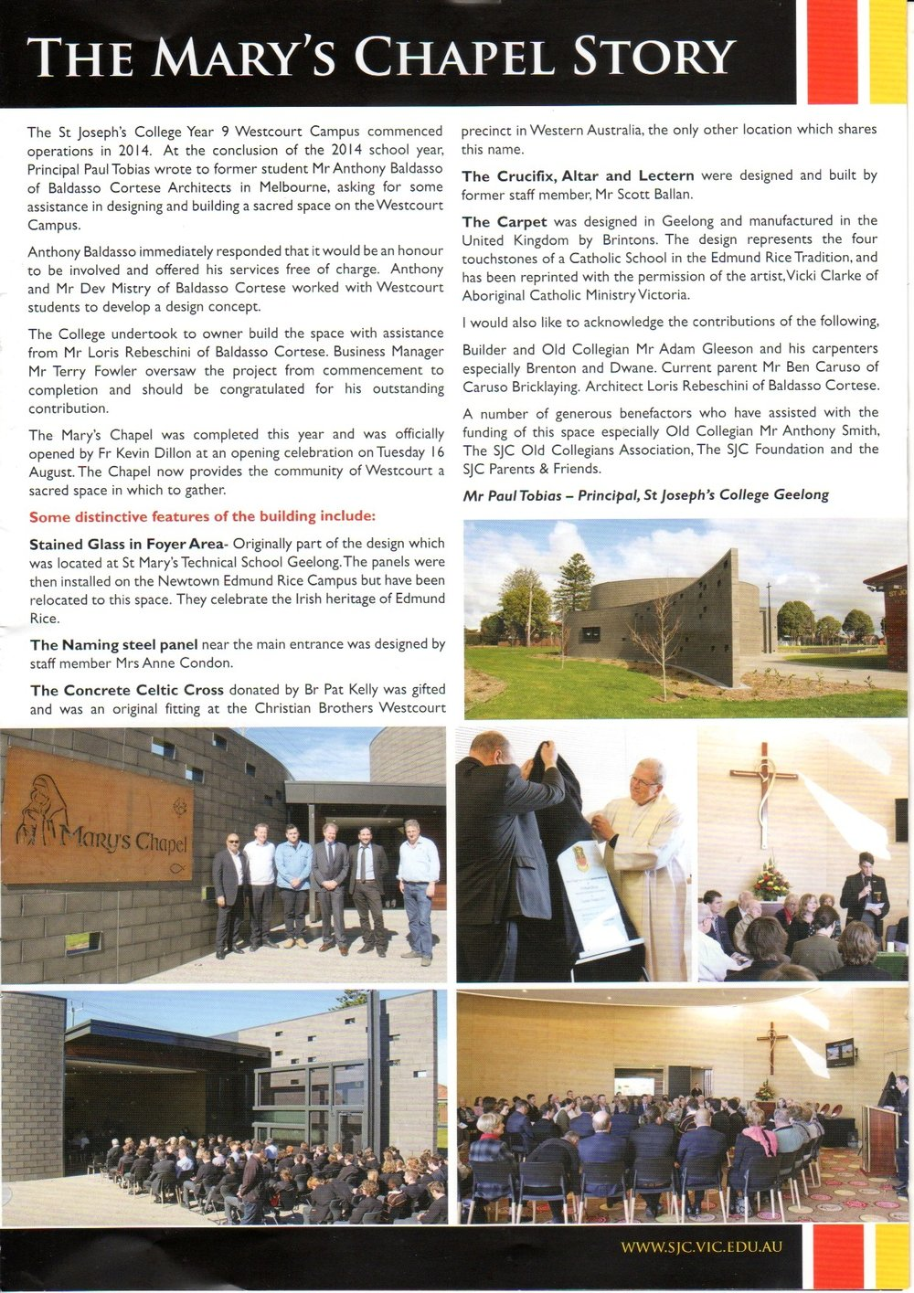 Read about our recently completed project, St Mary's Chapel. Featured in St Joseph's College magazine.