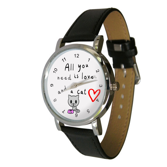 Wristwatch: Love & Cats Design