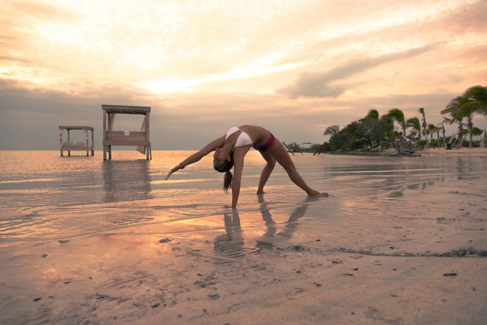 Sunset yoga at  Mahogany Bay Village , San Pedro, Belize