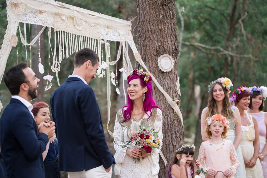 Steph and Tom's amaaaaazing festival wedding featured over on Nouba - we adored creating this native inspired flower crown and matching bouquet for Steph! x
