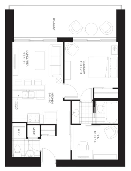 1 Bedroom + Den Suite.$1,350/month Click for Virtual Tour