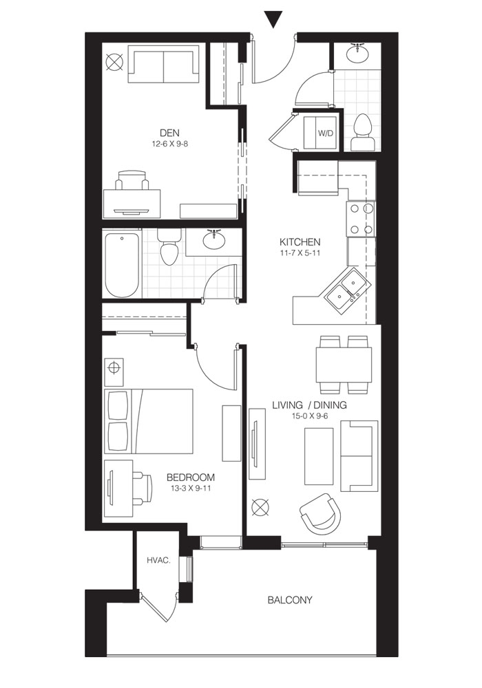 1 Bed + Den   Balsam 2. $1,550   SOLD OUT     Click for Virtual Tour