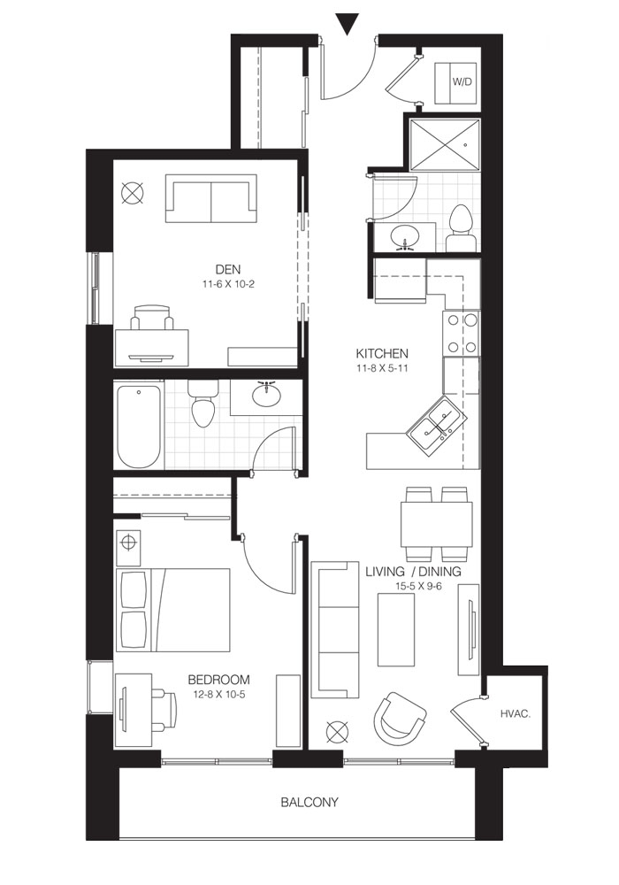 1 Bed + Den Premium   Balsam 1. $1,550    Click for Virtual Tour