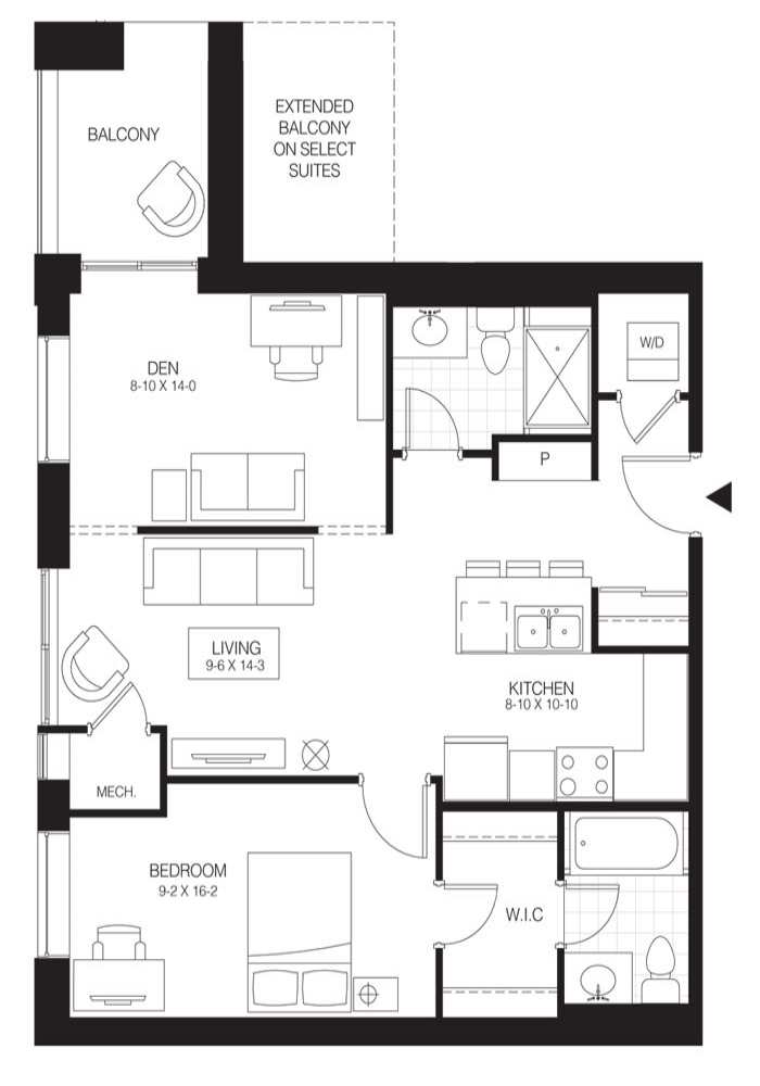 1 Bed + Den Premium   Hickory 1. $1,550    Click for virtual Tour