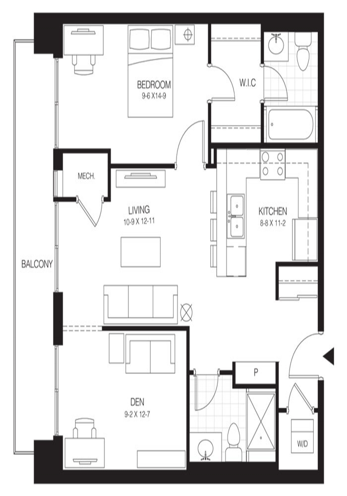 1 Bed + Den Premium   Hickory 2. $1,550    Click for Virtual Tour