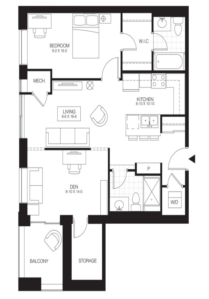 1 Bed + Den Premium   Hickory 4. $1,550    Click for Virtual Tour