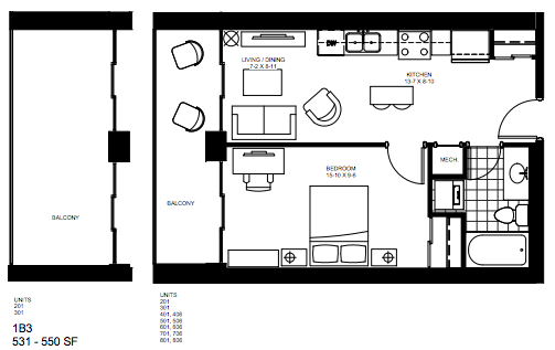 1 Bedroom Suite   Smart Suite 3. $1,300    Click for Virtual Tour
