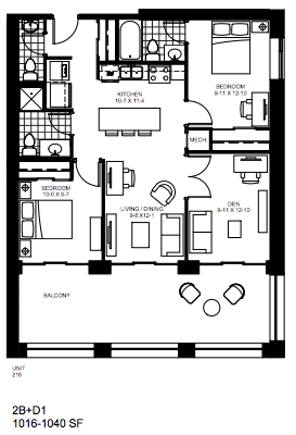 2 Bedroom + Den   2 + Den 1. $2,200   SOLD OUT