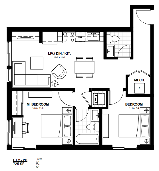 2 Bedroom Suite FT 2. $1,600 Click for Virtual Tour