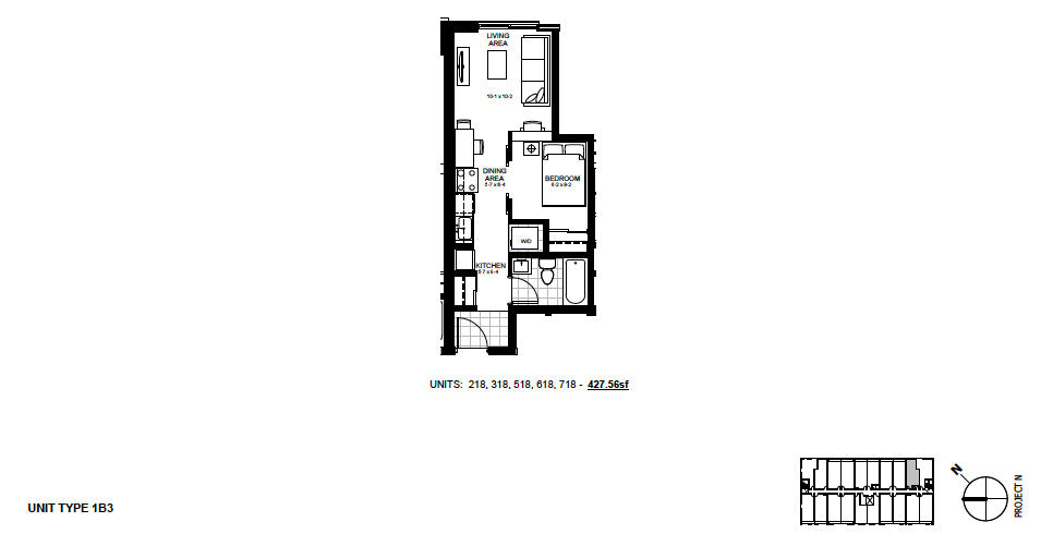 STYLE: 1B3 $1,150 / month 1 Bedroom Suite.