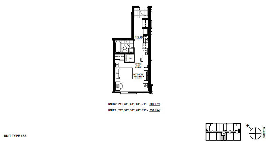 STYLE 1B6 $1,050 / month 1 Bedroom Suite.