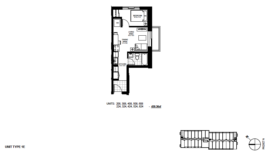 STYLE: 1E $1,250 / month 1 Bedroom Suite.