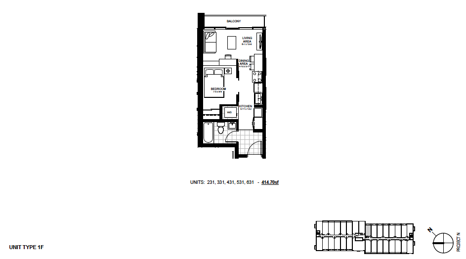 STYLE 1F $1,150 / month 1 Bedroom Suite.