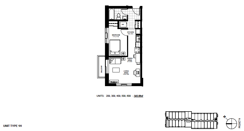 STYLE: 1H $1,295 / month 1 Bedroom Suite.