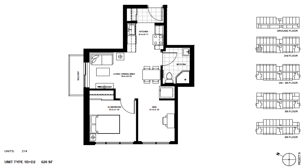 1 Bed + Den Suite    1B+D2 .  $1,675 / month