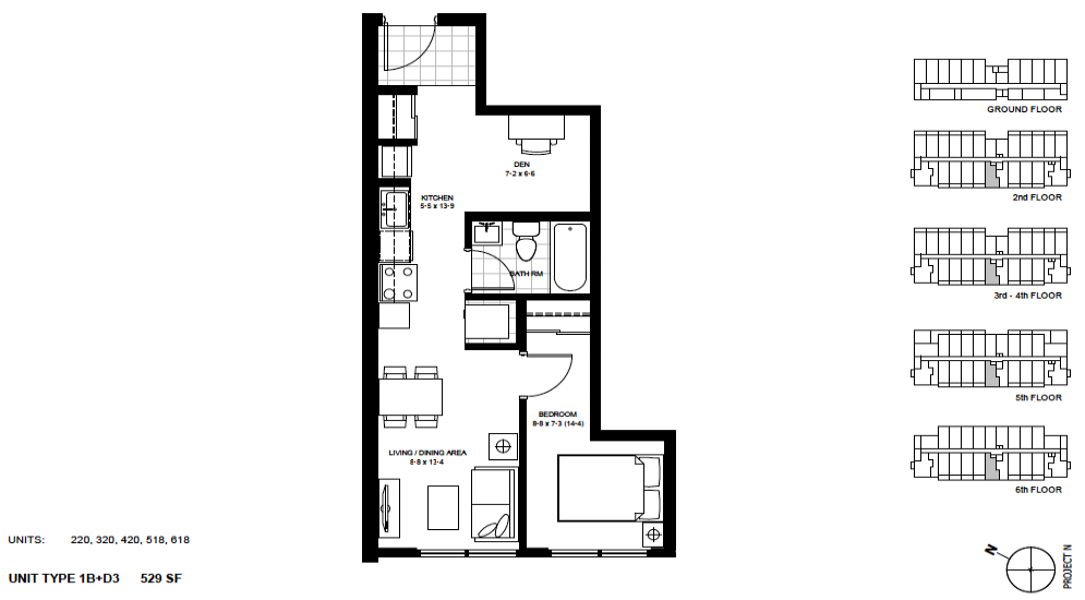 1 Bed + Den Suite    1B+D3 .  $1,675 / month