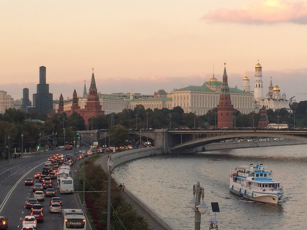 View from a bridge in Moscow. I don't know what the bridge is named, but it's the bridge that connects the Church of Christ the Savior (of Pussy Riot infamy) with this island upon which an old chocolate factory has been converted to a hipster art/commerce space.