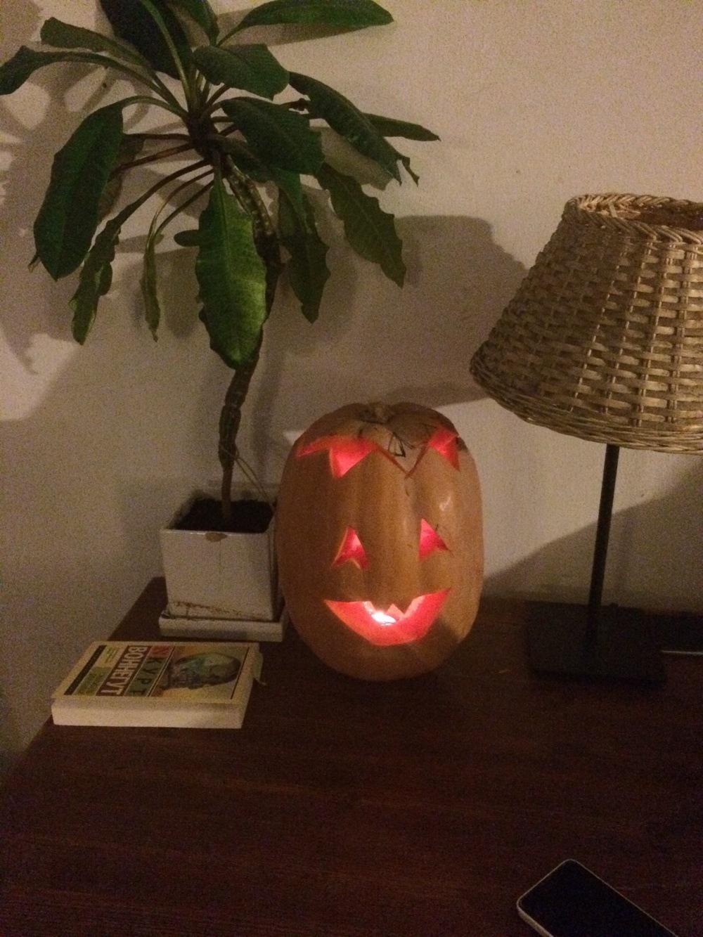 My pumpkin, lit up!