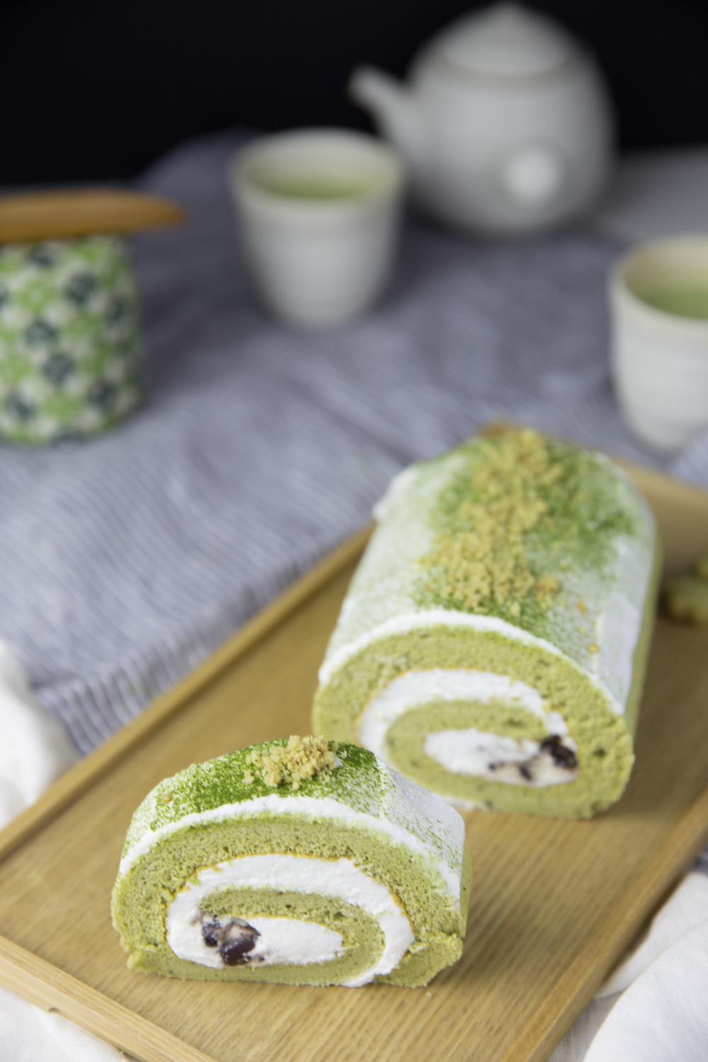 Macha Green Tea Cake Roll by Peggy's Kitchen