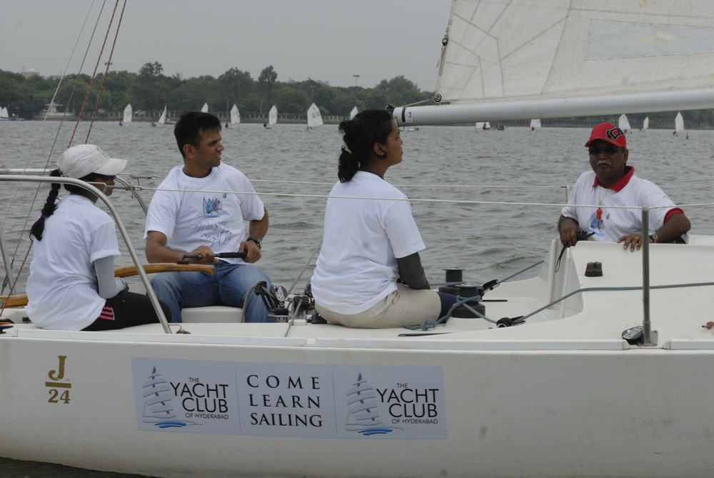 RAHUL DRAVID learning to sail at the Yacht Club