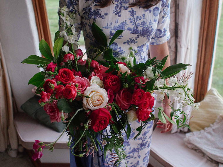 A romantic bridal bouquet featuring botanical elements taken from the client's own garden. Photo: Eliza Rogers