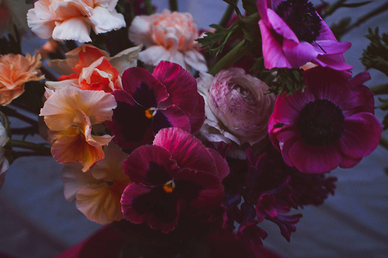 'It's easy to get caught up in the beautiful character of a single flower head,' says Eliza, 'I've found pansies particularly bewitching lately - I just cannot stop staring at their little faces.' Photo: Eliza Rogers