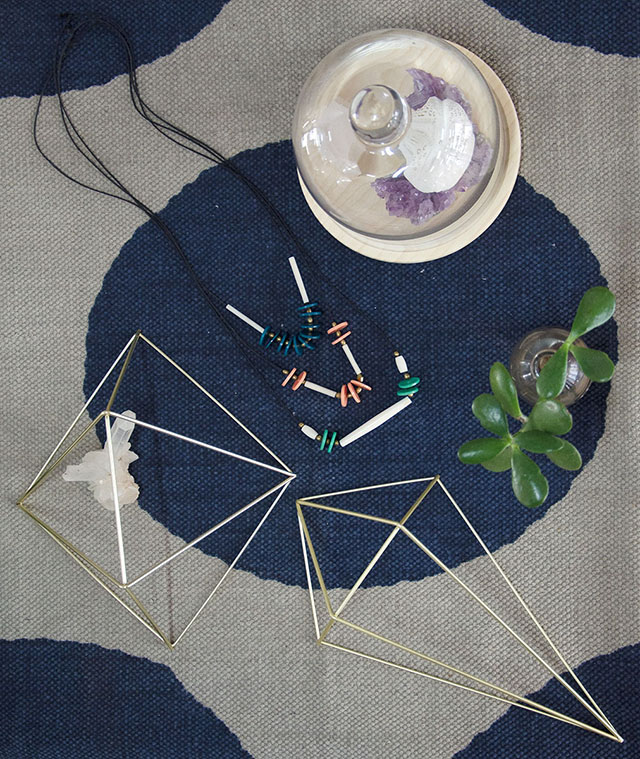 Brass prisms and handmade jewellery. Photo:  Style Revolutionary