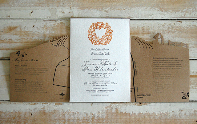 Another fabulous wedding invitation suite complete with cut-out silhouette of the Bride and Groom. Photo:  Little Peach Co.