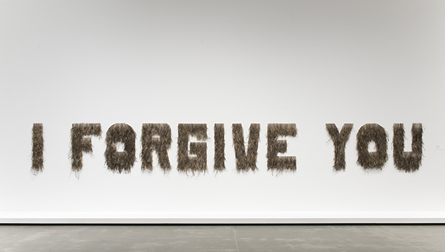 Bindi Cole, VIC b. 1975, Wathaurang people,  I Forgive You , 2012. Emu feathers on MDF board. Purchased 2012 with funds from the Queensland Art Gallery Foundation. Collection: Queensland Art Gallery