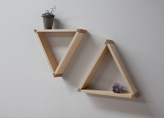 Triangle shelves made from plywood offcuts with lovely Rosewood joints. Photo: Mast Furniture