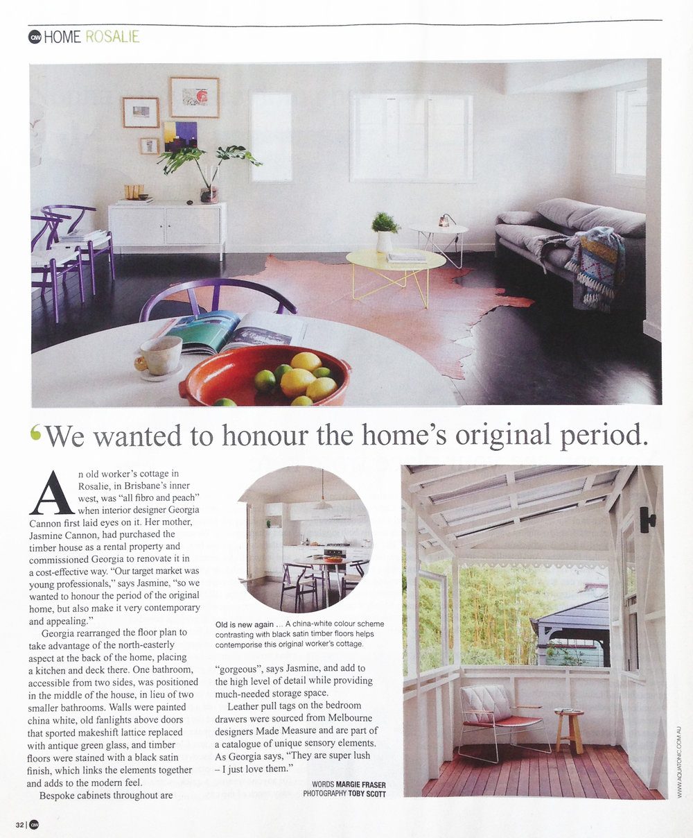 Georgia Cannon Interior Design, Brisbane, Gold Coast, M2 House in Inside Out Magazine, February 2015