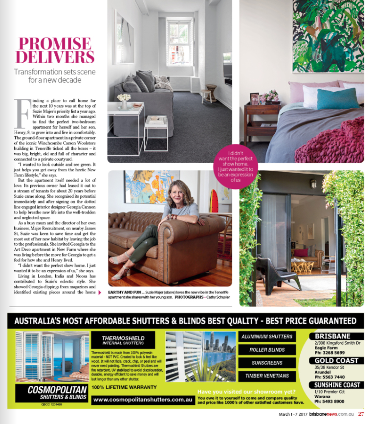Georgia Cannon Interior Design, Brisbane, M4 House, Brisbane News Magazine March 1, 2017