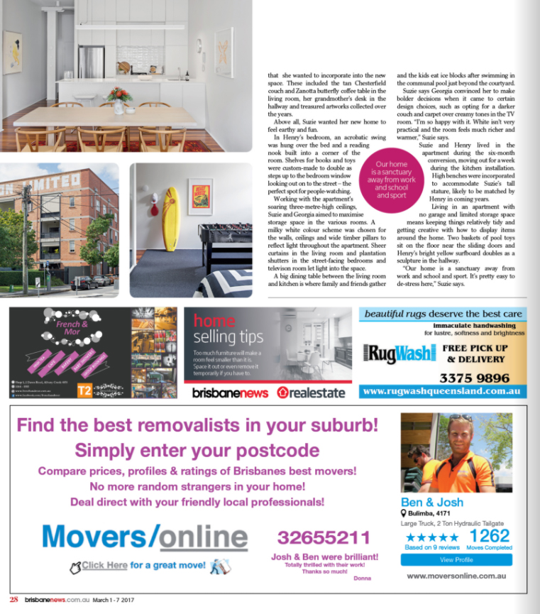 Georgia Cannon Interior Design, Brisbane, M4 House, Brisbane News Magazine March 1, 2017