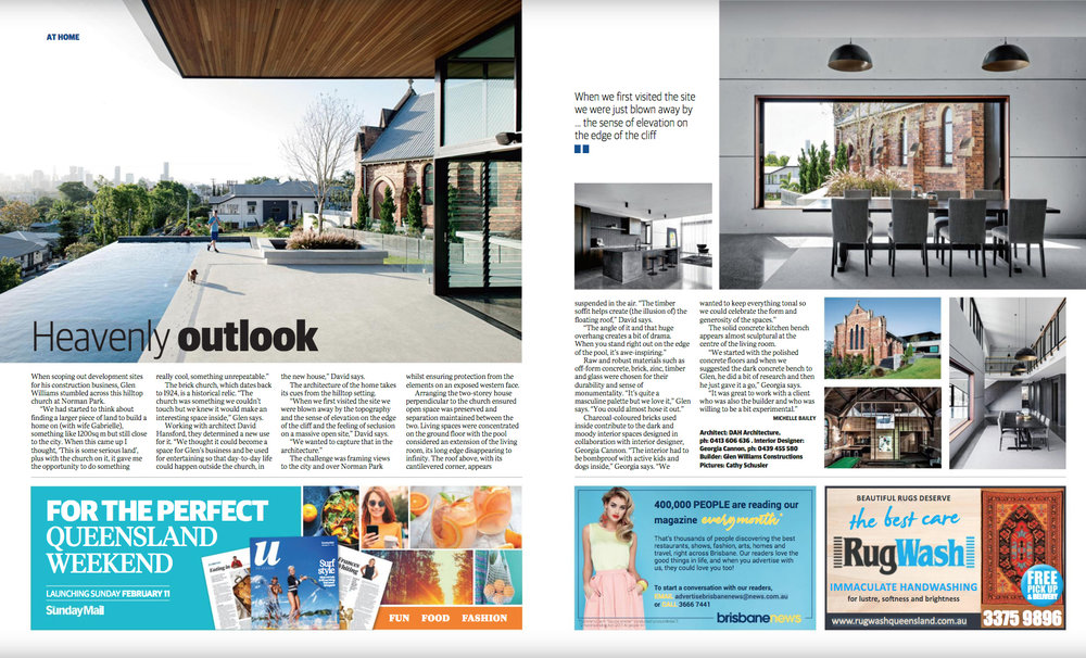 Georgia Cannon Interior Design, Brisbane, Church House in Brisbane New Magazine, Jan 31 - Feb 6, 2018