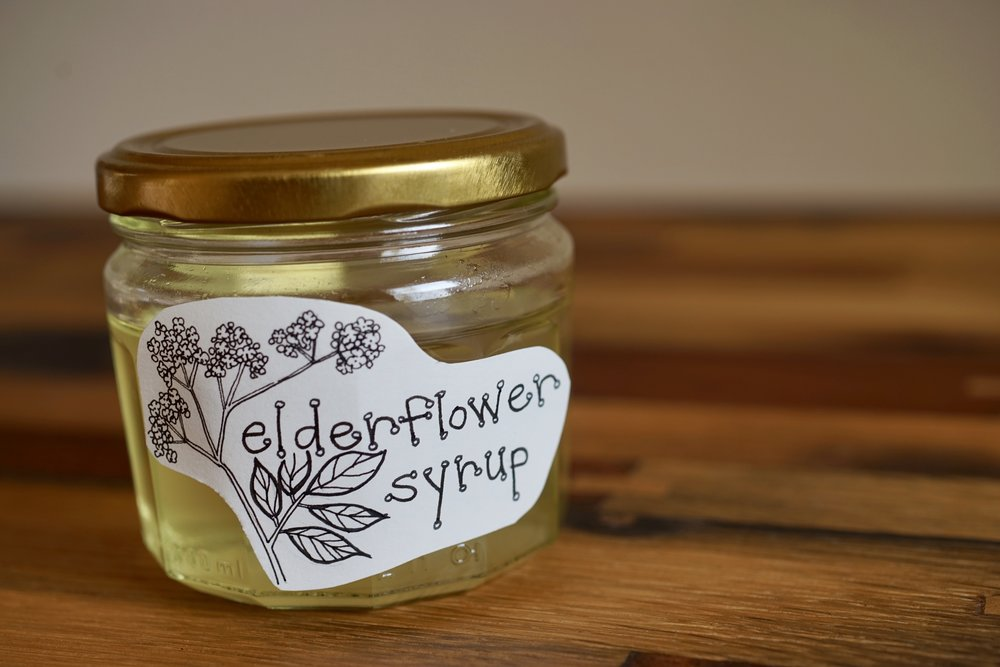 elederflower syrup in jar
