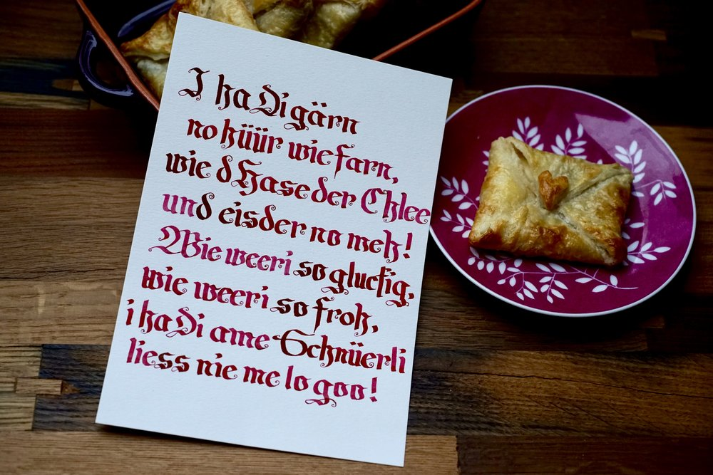 My Valentine gave me an awesome Christmas present—a Calligraphy course with the beloved Emmentaler farmer turned calligrapher  Fritz Tschanz .