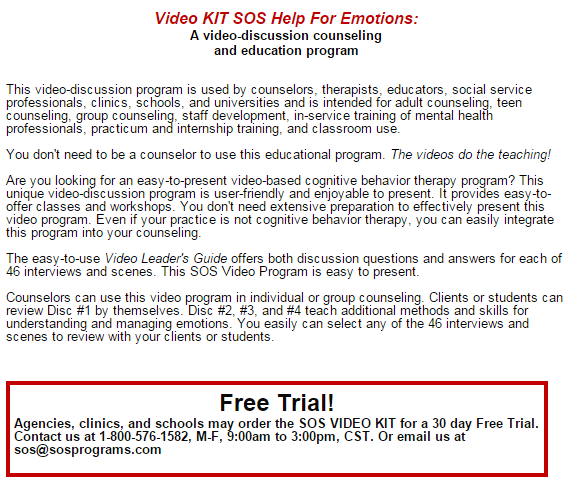 Psychologists, counselors and social workers teach with Video KIT SOS Help For Emotions.